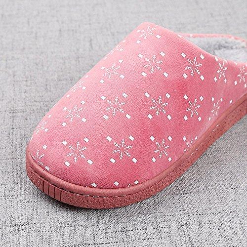 Eagsouni® Unisex Winter Wärme Hausschuhe Indoor Startseite Slipper Plüsch Pantoffel Indoor Rutschfeste Pantoffeln für Herren Damen Rot
