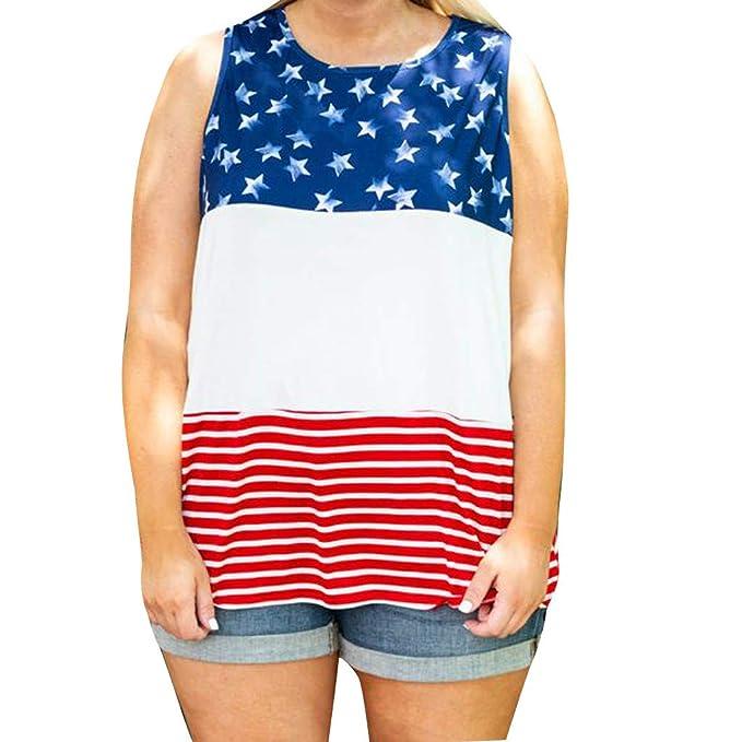 Mosstars 🎀 Blusas para Mujer Verano Mujeres Moda Chaleco Estrella Mangaless Bandera Americana Empalme Camisa Casual Blusa Tops Camiseta de Tirantes Mujer ...