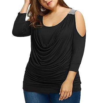 90cad86e3 Sannysis Blusas de Mujer Elegantes, Camisetas Manga Larga Lentejuelas  decoración Mujer Blusas sexys Mujer Tallas Grandes dobla Camisetas de  Casuales ...