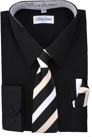 Amazon.com: Berlioni Italy Kids Boys Dress Shirt with Tie & Hanky ...
