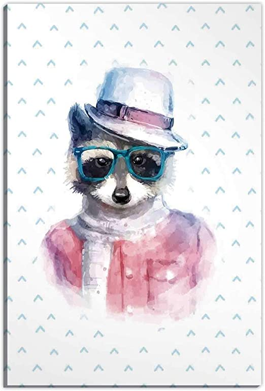 Amazon Com Funny Wall Art For Bedroom Retro Hipster Funky Raccoon With Sunglasses Hat Pullover Portrait Animal Humor Theme Living Room Wall Decor 8 X12 Posters Prints