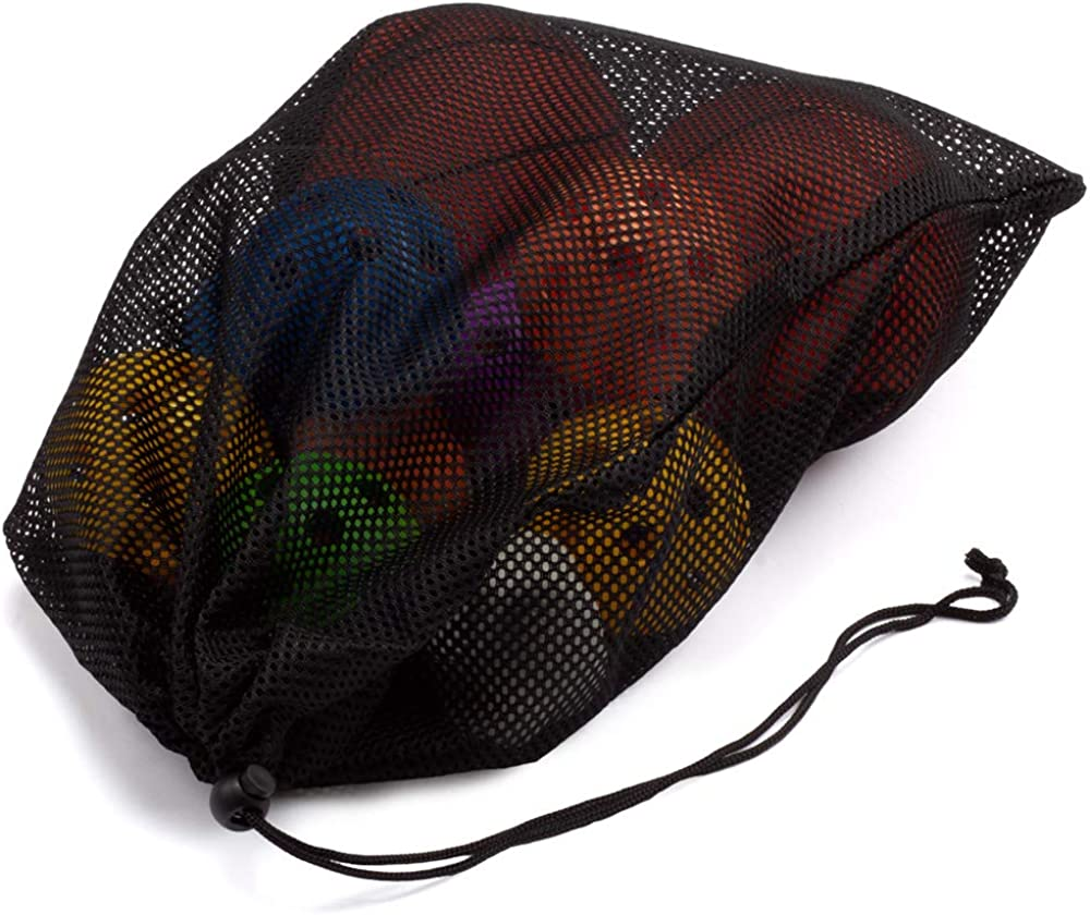 "Sports Equipment Mesh Drawstring Bag/Backpack Bag/Duffle Bag for Gym Training, Soccer, Football, Basketball, Volleyball, Swimming Gear, Laundry, Beach Toys (18""x12"" Drawstring Bag - Black) : Clothing"