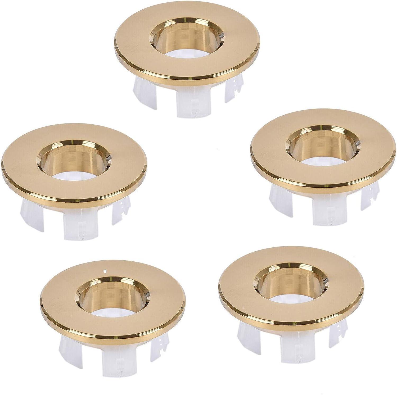 Cubierta de desbordamiento para lavabo SAUTOP 5 unidades, acabado dorado pulido, con orificio para fregadero, cocina, ba/ño, hotel, ba/ño y lavabo