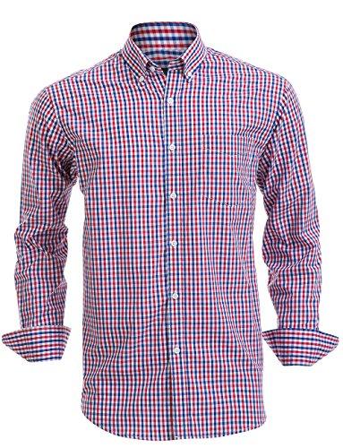 Double Pump Mens Button Down Shirts 100% Cotton Long Sleeve Shirts Regular Fit (SL07A,XL)