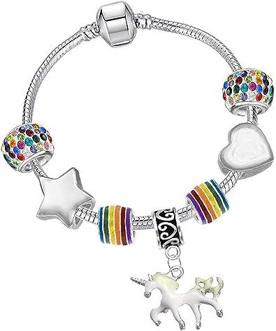 Regalos pulsera de plata dulce del estilo del arco iris del unicornio de cristal caja de regalo conjunto cumpleaños para las mujeres y niñas: Amazon.es: Joyería