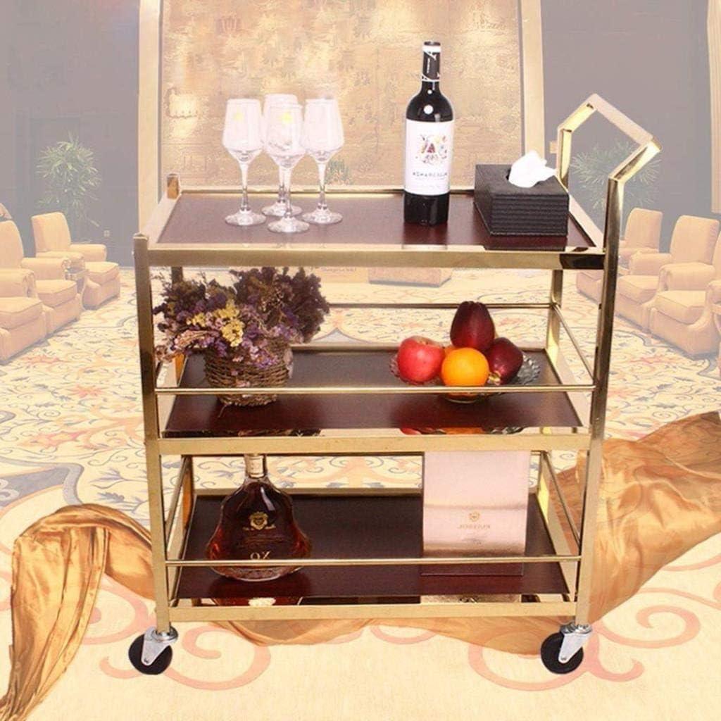 cremagliera in acciaio inossidabile Hotel Restaurant Beauty Salon carrello mobile Trolley atmosfera semplice Rack Oro 83X45X96Cm Passeggino Rack a A forniture mediche Rack SGLI Barella da ospedale