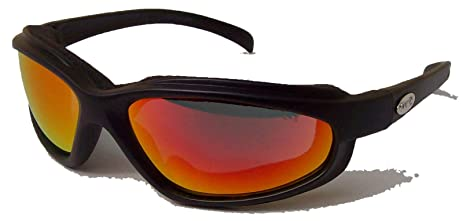 8750e2056d0 Curv Z Padded Motorcycle Glasses   Biker Sunglasses with Fire Red ...