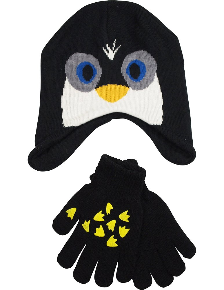 Winter Warm-Up - Little Boys Penguin Hat and Glove Set Fits Size 4-7, Black 33756-onesize