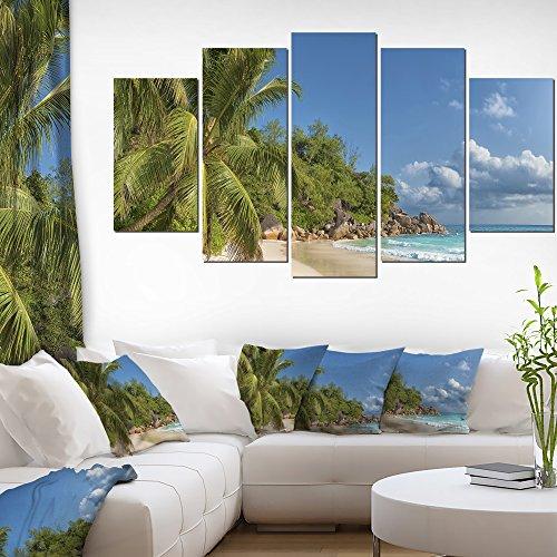 Designart ANSE Georgette Beach Dark Large Seascape Art Canvas Print-60x32 5 Piece, 60x32-5 Panels Diamond Shape -