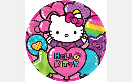 Hello Kitty Rainbow Balloon Edible Image Photo 8 Round Cake Topper Sheet Personalized Custom Customized Birthday Party