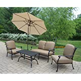 Oakland Living Hampton 4-Piece Chat Set with Sunbrella Cushions and 9-Feet Crank Tilt Umbrella Stand