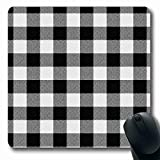 Ahawoso Mousepads for Computers Lumberjack Black White Buffalo Plaid Abstract Cottage Check Autumn Bright Cabin Design Checkered Oblong Shape 7.9 x 9.5 Inches Non-Slip Oblong Gaming Mouse Pad