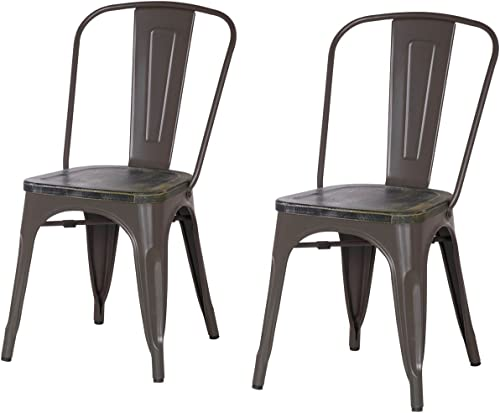 ELEGAN Metal Stackable Tolix Industrial Style Dining Chairs Matte Dimgrey