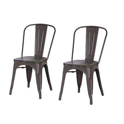 Genial ELEGAN Metal Stackable Tolix Industrial Style Dining Chairs Matte Dimgrey  With Wooden Indoor Outdoor Kitchen,