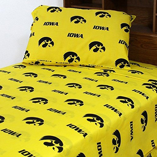 College Covers Iowa Hawkeyes Printed Solid Sheet Set, (Iowa Hawkeyes Queen Comforter)
