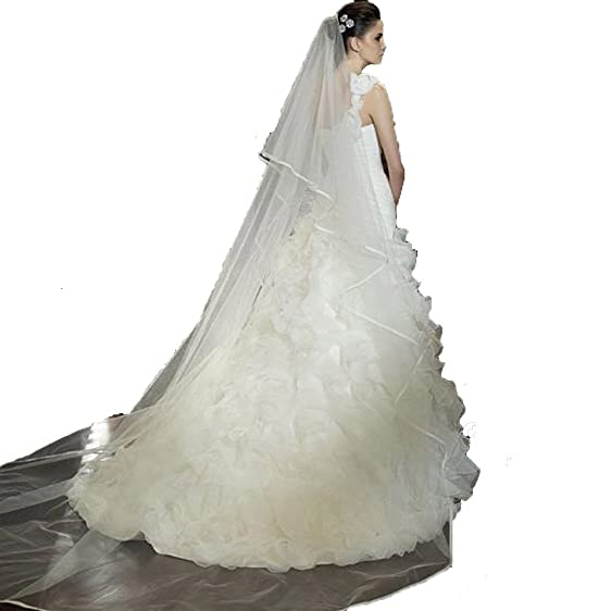 UGE 98 Inch One Tier White Tulle Drop Lace Wedding Cathedral Veil With Comb