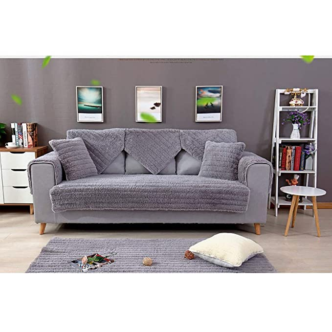 Amazon.com: SANDM Thicken Plush Sofa Cover 3 Seater, Winter ...