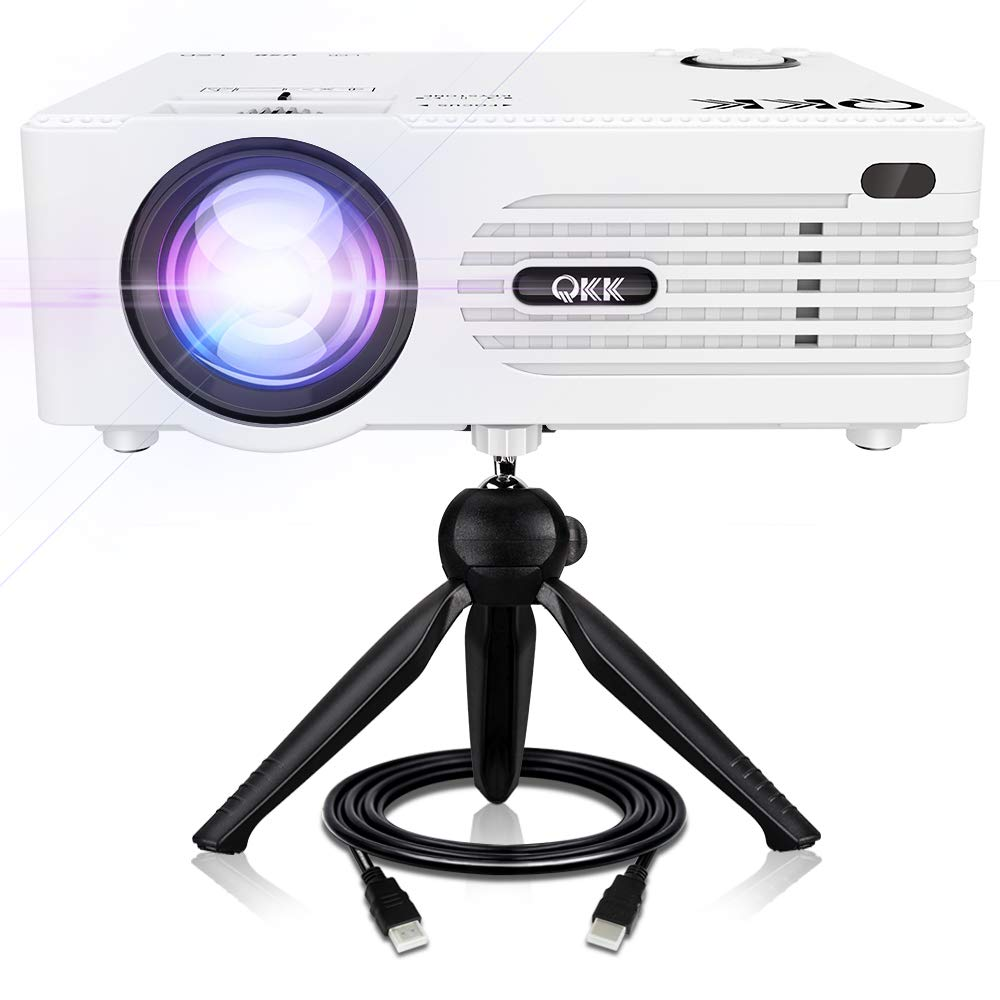 QKK [2019 Upgrade] Mini Projector [with Tripod] LED Projector Full HD 1080P Supported, 170'' Display for TV Stick, Video Game, Blue Ray DVD Player, Smartphone Home Theater Entertainment, Dual USB Port by QKK