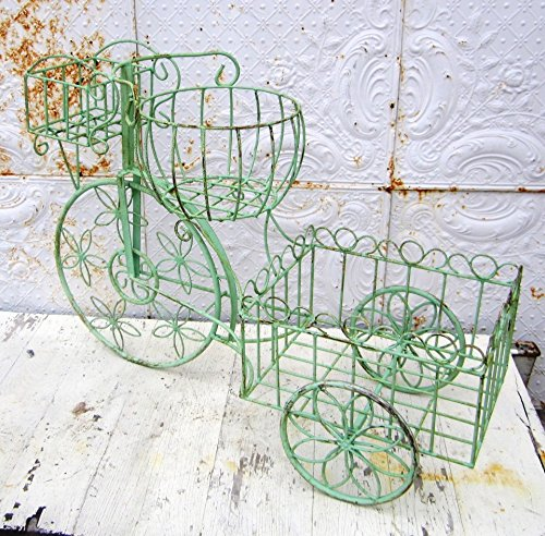 Wrought Iron Large Tricycle with 3 Baskets for Planting