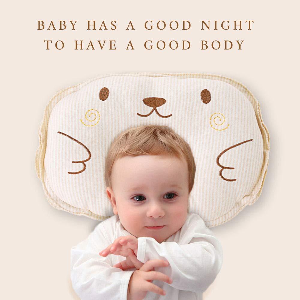 Babykomfort und Schlaf Babykissen Weiche Babysch/ädel-orthop/ädische Kissen-Baumwollschlafmatte verhindert schr/äges Kopf-Flat-Syndrom