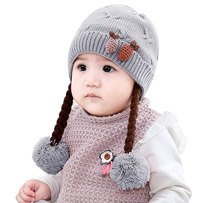 ced0d81c2 IMLECK Infant Baby Winter Hat Beanies Crochet Warm Knitted Wig Hat
