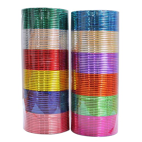 MUCH-MORE Indian Traditional Plain Metal Bangles Box Bracelets Indian Costume Partywear Jewelry for Women (08, 2.8)