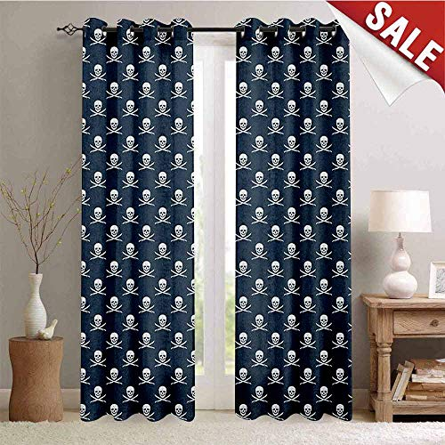 Pirates, Window Curtain Fabric, Jolly Roger Pattern in Classic Nautical Colors Dangerous Halloween Character, Drapes for Living Room, W96 x L108 Inch Dark Blue White -