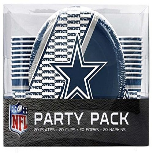 NFL Dallas Cowboys Party Packs with Forks/Cups/Plates(Serves 20)
