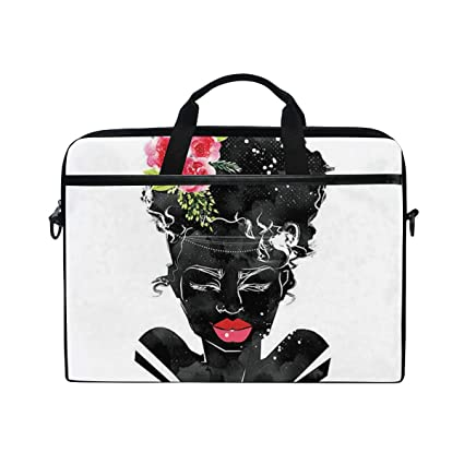 2e28d91e824e Amazon.com: Laptop African Lady Pattern Waterproof Shoulder Bag for ...