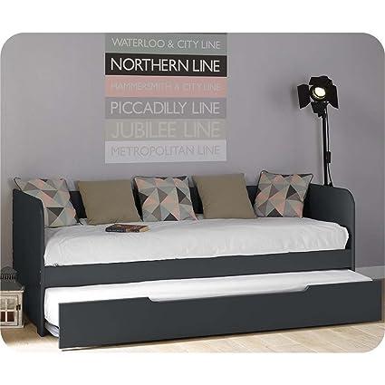Del Paquete cama extensible Bali gris 80 x 200 cm con 2 colchones