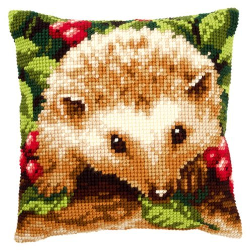Cross stitch- chunky - cushion front kit - Hedgehog with Berries PN-0146403