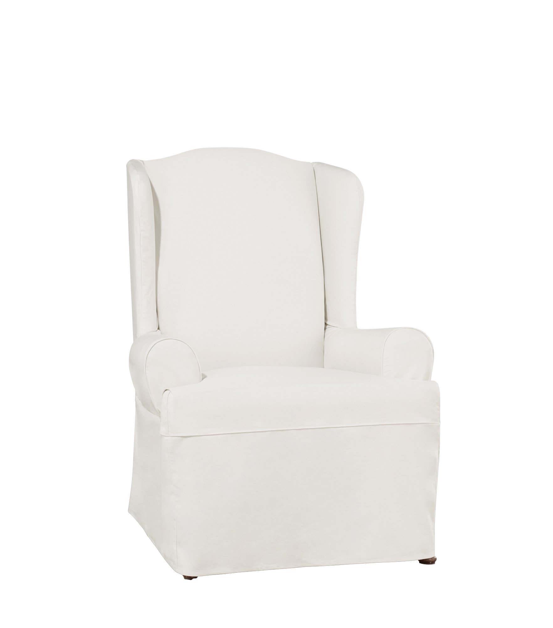 Sure Fit Essential Twill Straight Skirt Wing Chair Slipcover with Scotchgard - White