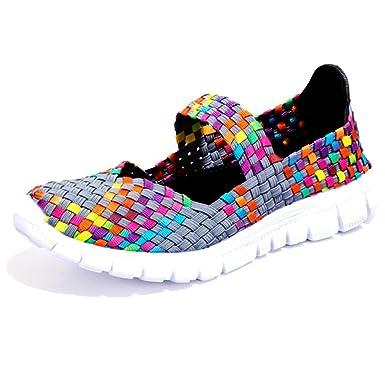 Minetom Femme Poids Léger Breathable Elastic Engrener Chaussures de Sport Plage Et D'Eau Tissées Shoes Trainers Slip On QCirive