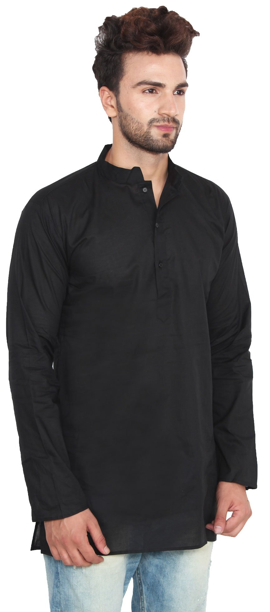 Cotton Dress Mens Short Kurta Shirt India Fashion Clothes (Black, M) by Maple Clothing (Image #3)