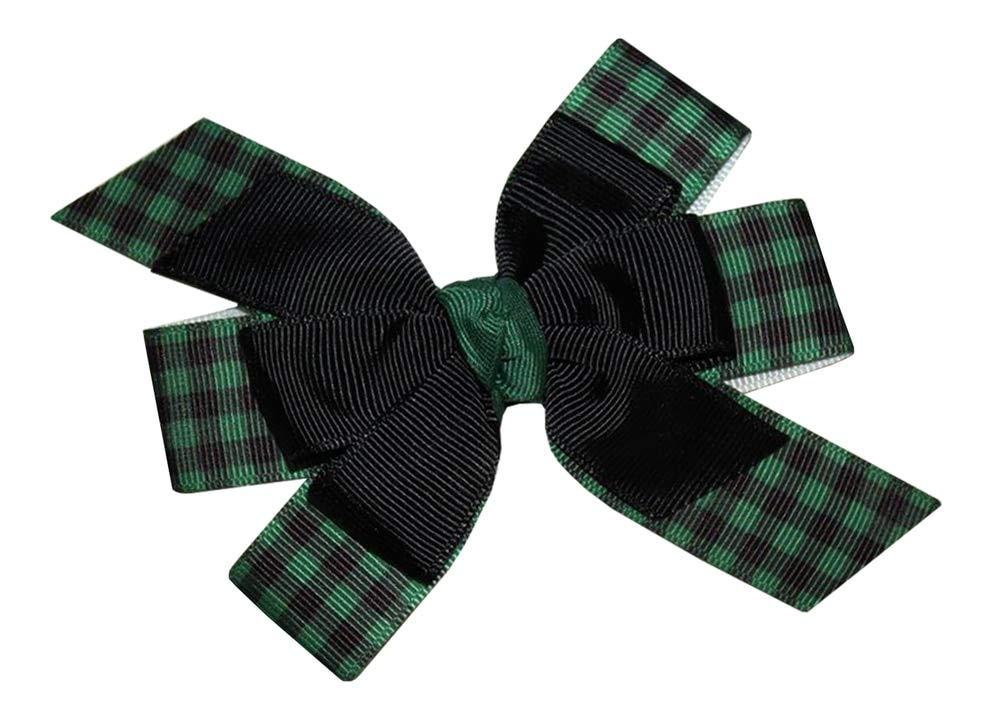 WD2U Girls Black Green Buffalo Plaid Woodland Lumberjack Hair Bow Alligator Clip