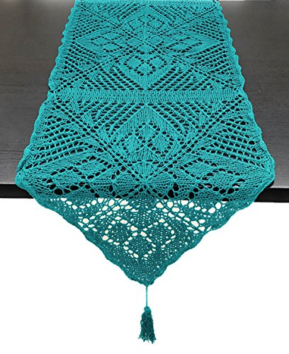 (Fennco Styles Handmade Crochet Lace Design Cotton Table Runner with Tassels 16