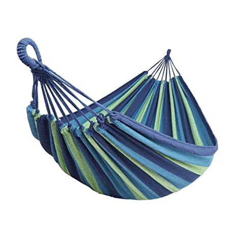 Hammocks Rainbow Outdoor Leisure Single Canvas Hammocks Ultralight Camping Hammock Stripe Hang Bed Canvas Hammock With Backpack Ddurable Outdoor Furniture