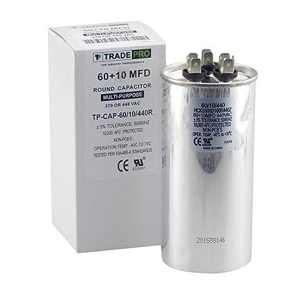 60 + 10 mfd Dual condensador, repuesto de grado industrial para aire acondicionado central,