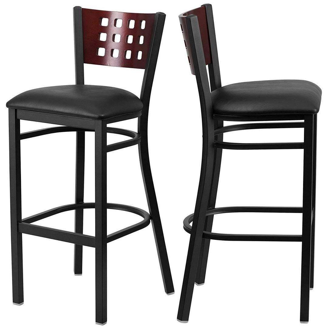 Modern Style Metal Dining Bar Stools Pub Lounge Restaurant Commercial Seats Mahogany Wood Cutout Back Design Black Powder Coated Frame Finish Home Office Furniture - Set of 2 Black Vinyl Seat #2207 by KLS14 (Image #1)