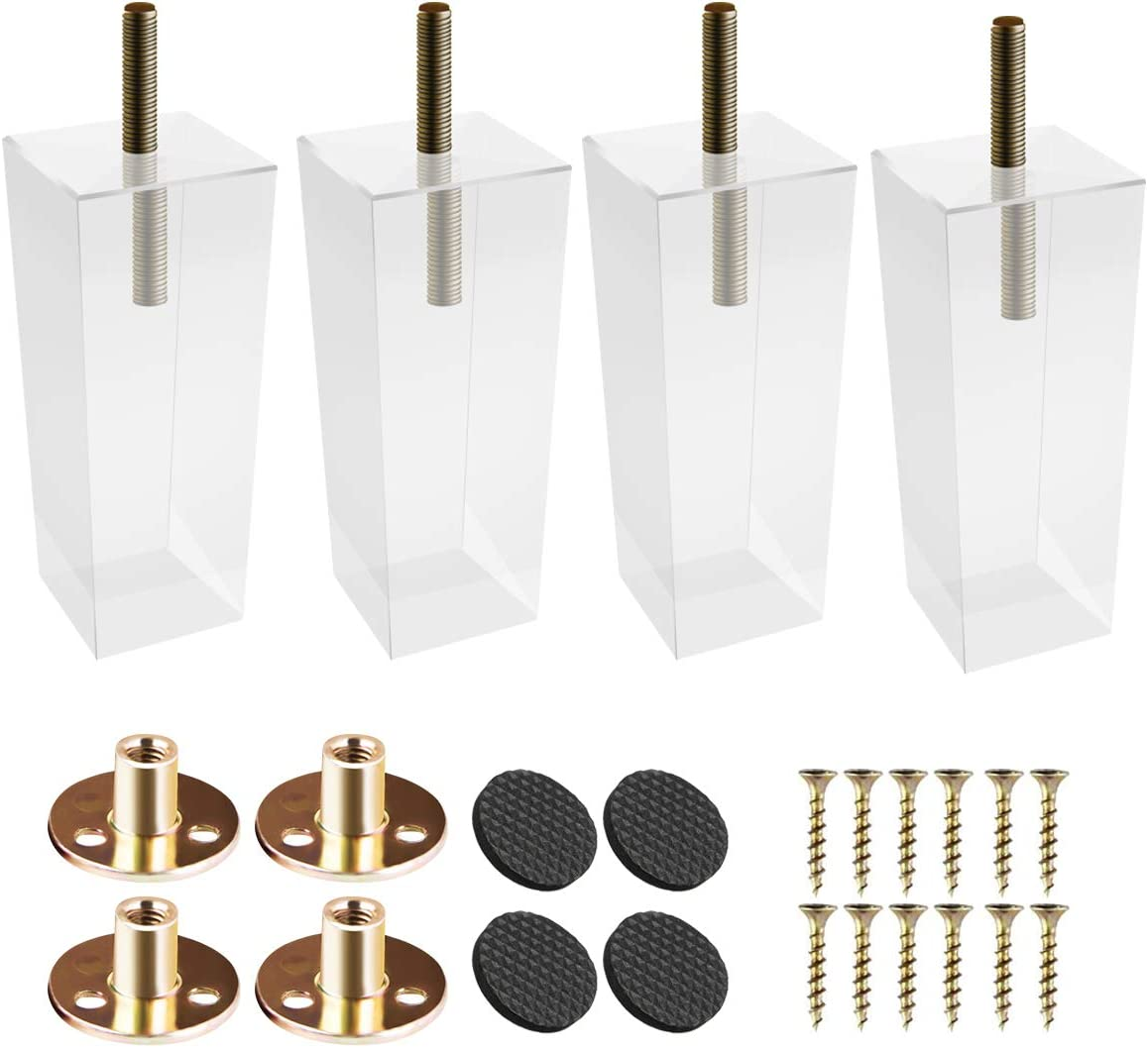 6 inch / 15cm Acrylic Furniture Legs, La Vane 4PCS Pyramid Clear Glass DIY M8 Replacement Furniture Feet with Pre-Drilled 5/16 Inch Bolt & Mounting Plate & Screws for Bookcase Table Cabinet