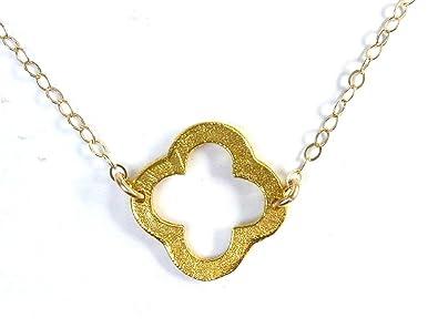 Amazon four leaf clover necklace quatrefoil pendant on 14k four leaf clover necklace quatrefoil pendant on 14k gold filled chain aloadofball Choice Image