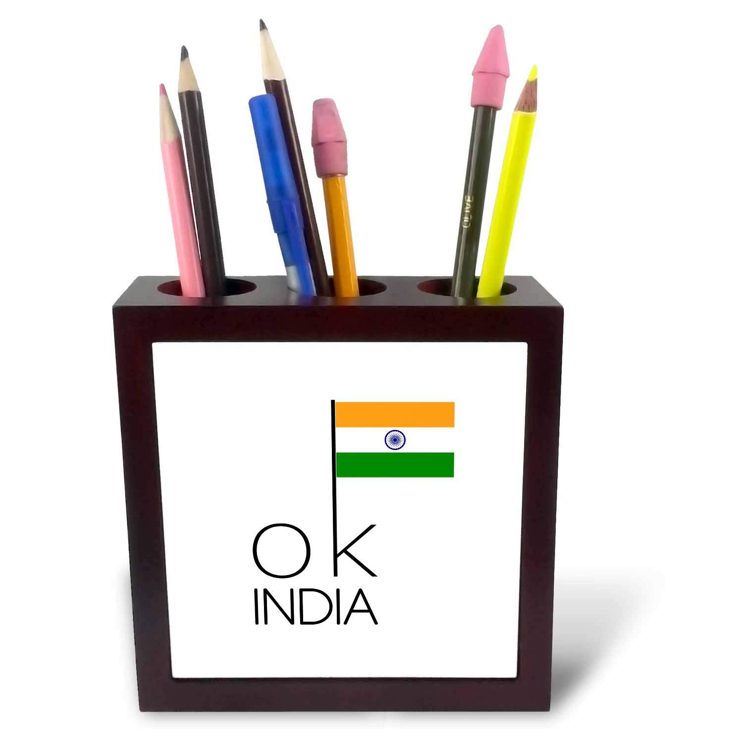 3dRose Alexis Design - OK Country - Stylish Text OK India and an Image of The Indian Flag - 5 inch Tile Pen Holder (ph_292335_1)