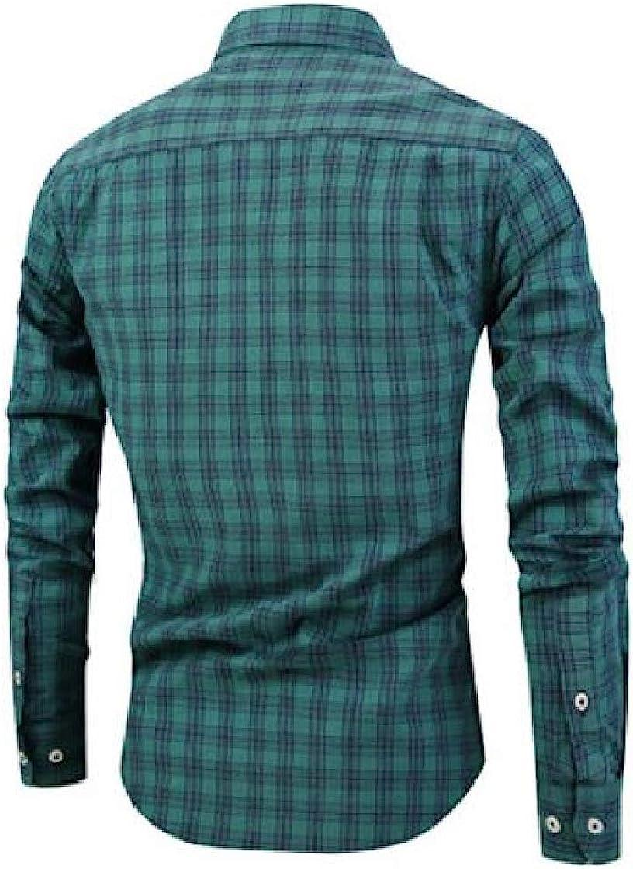 Etecredpow Mens Buffalo Long Sleeve Checkered Slim Fit Button Down Shirts