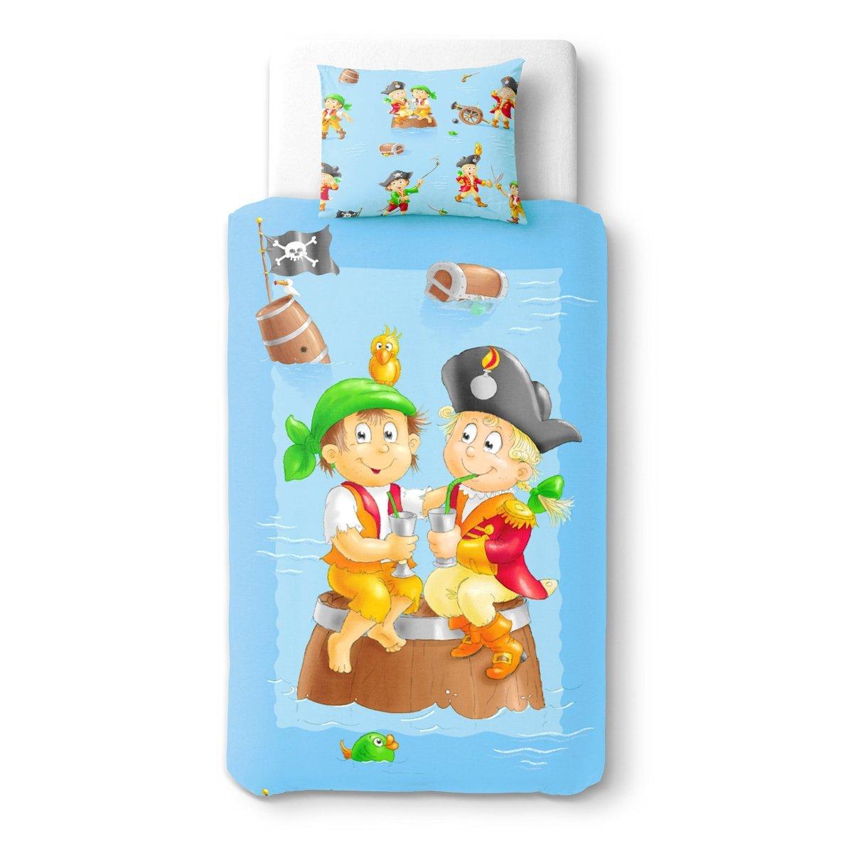SoulBedroom Baby Pirates au goûter Linge de lit pour bébé (Housse de Couette 100x140 cm et Taie d'oreiller - 100% Coton)