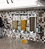 Kitch N' Wares 3 Canister Dry Food Cereal Dispenser - Wall Mount Smart Space Saver - For Home, Kitchen, Breakfast, Pets, Cat Food, Dog Food, Candy, Pantry, And Meals,