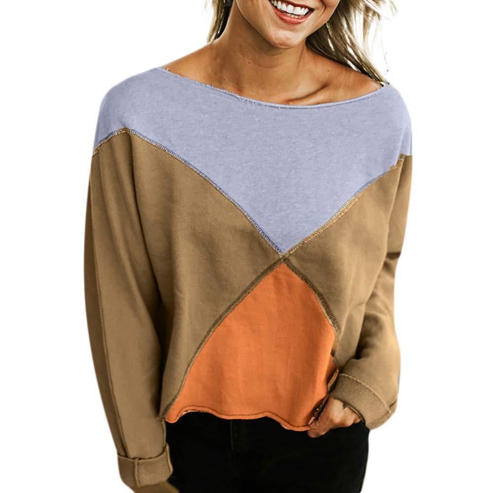 Pullover Damen Runhals Herbst Patchwork T-Shirt Winter Sweatshirt Frau Kapuzenpullover Sport Top Langarmshirt Loose Fit Bluse Trägerloses Sweater Btruely Mode Pullover