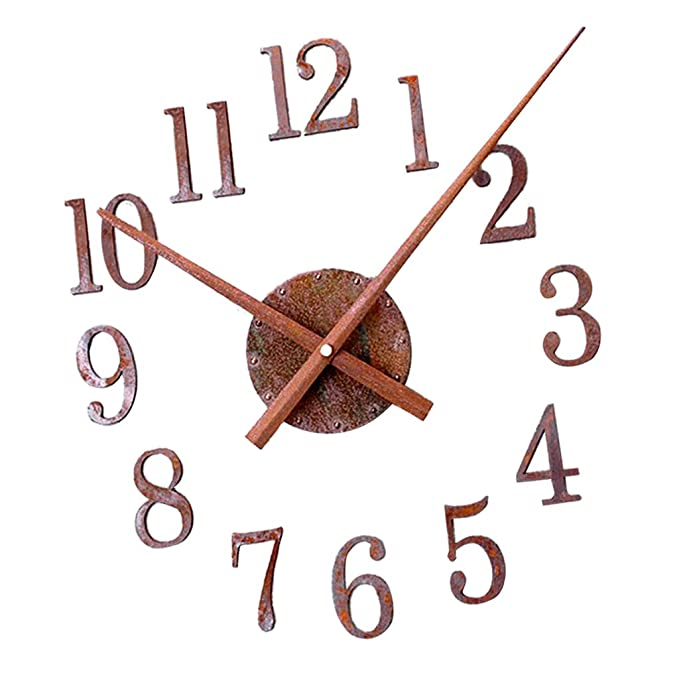 Amazon.com: Fityle Large 3D DIY Wall Clock Digit Numerals Clock Frameless Self-Adhesive Wall Clock Home Decor for Living Room Bedroom - Forward, ...