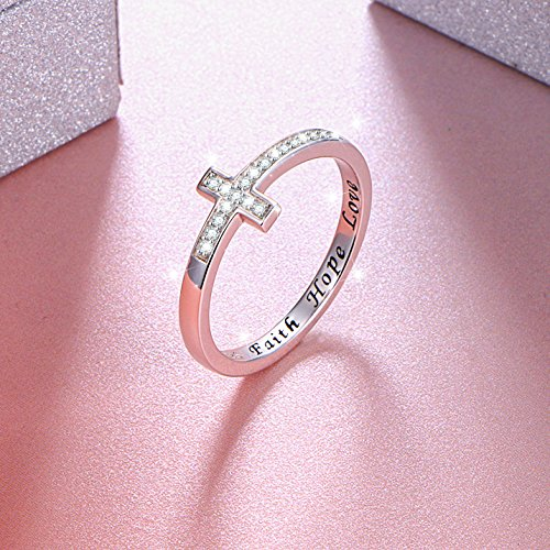 DAOCHONG Inspirational Jewelry Sterling Silver Engraved Faith Hope Love Sideway Cross Ring, Size 6 7 8 (7) by DAOCHONG (Image #3)