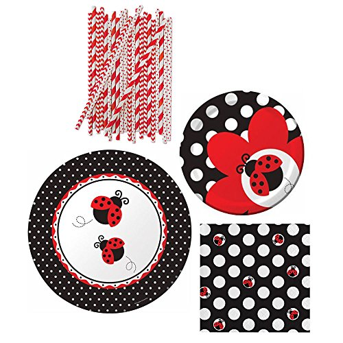 Ladybug Fancy Party Bundle for 16 Guests: Dinner Plates, Dessert Plates, Napkins, and Straws -