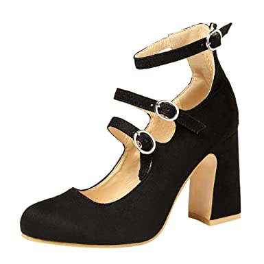 b9c70b555ea1 Cenglings Women s Vintage Square Toe Ankle Strap Mary Jane Shoes Buckle  Strap Shoes High Chunky Heels
